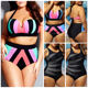 2020 New Plus Size Women High Waist Push Up Bikini Set Striped Swimwear Beach Bathing Suit Large Swimsuit Plus Size Swimwear4XL