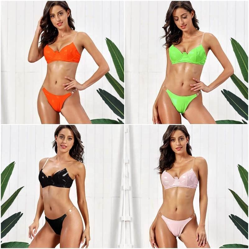 FFS9316 Bright Leather Push Up Bikini Transparent Straps Push Up Colombian Swimwear For Women
