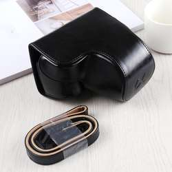 Professional Protective Camera PU Leather Full Body Case Bag with Strap for Sony A6400 / ILCE-A6400