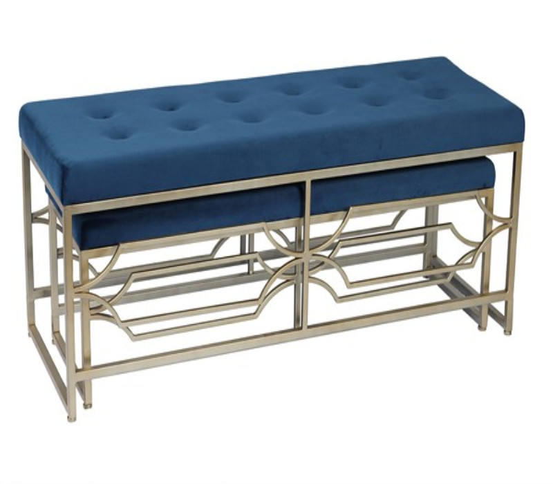 Bailey blue velvet bench metal frame chair with shoe rack