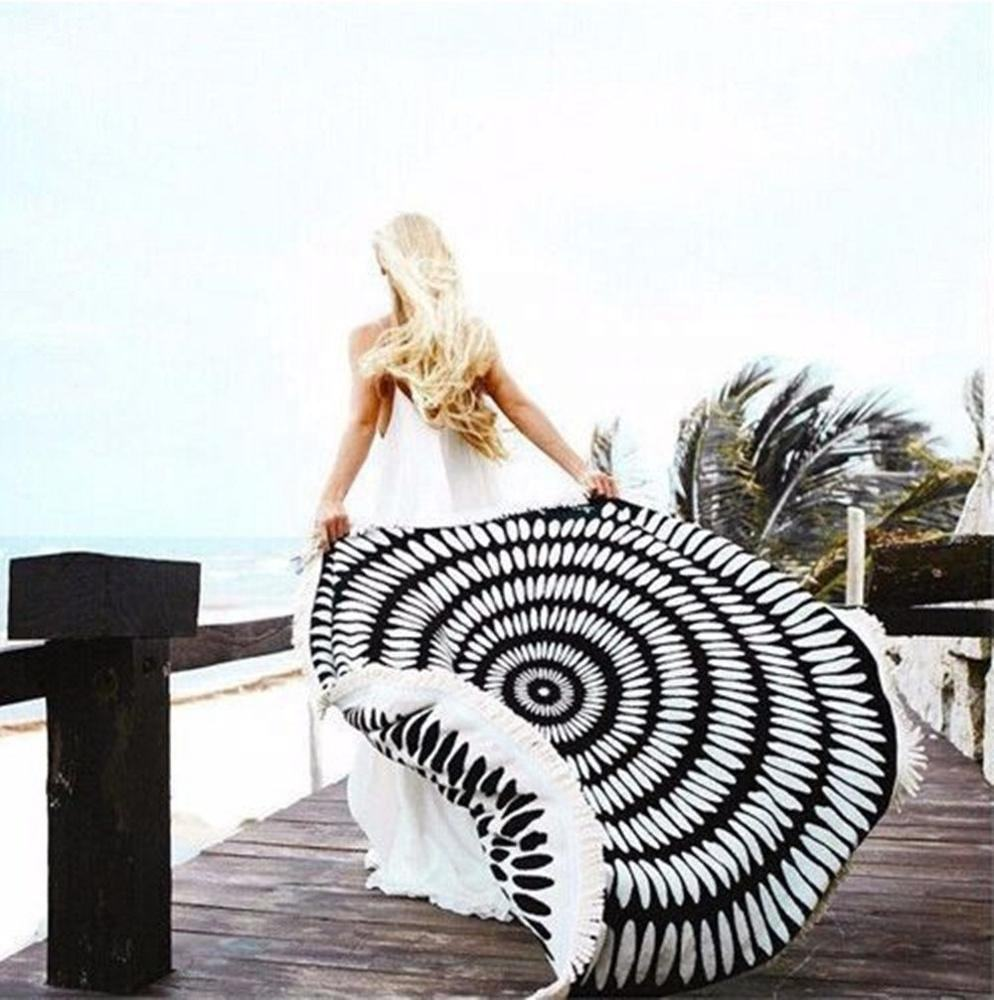 High Quality New Summer Large Microfiber Body Extra Large Printed Round Beach Circle Towel Super Soft With Tassel