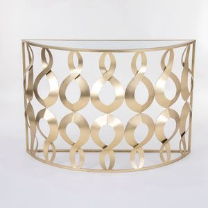 Luxury Half Circular Moon Round Foyer Console Table