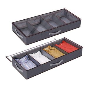 Reusable Under Bed Storage With Lid Collapsible Fabric Under Bed Shoe Storage Organizer