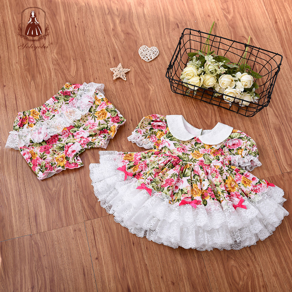 Factory Baby Girls Flower Kids Dress for Girls Lace Cake Party Princess Dress Girl Birthday Party Event Prom Dress With Panty