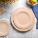 7/9/11 Inch Degradable Round Disposable Bamboo Dinner Plates Round Bamboo Fiber Dishes Plates