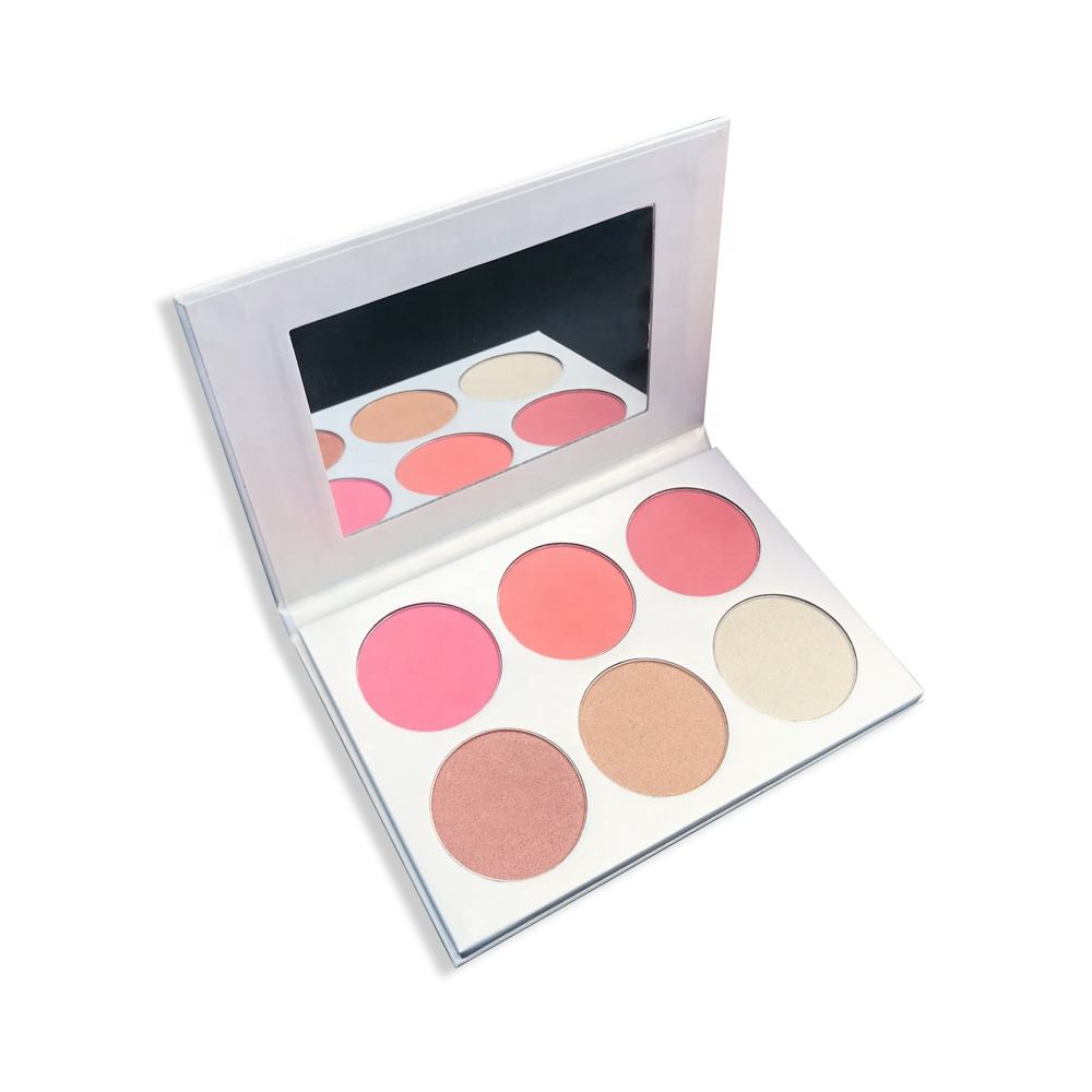 Best selling high pigment face blush highlighter palette makeup private label