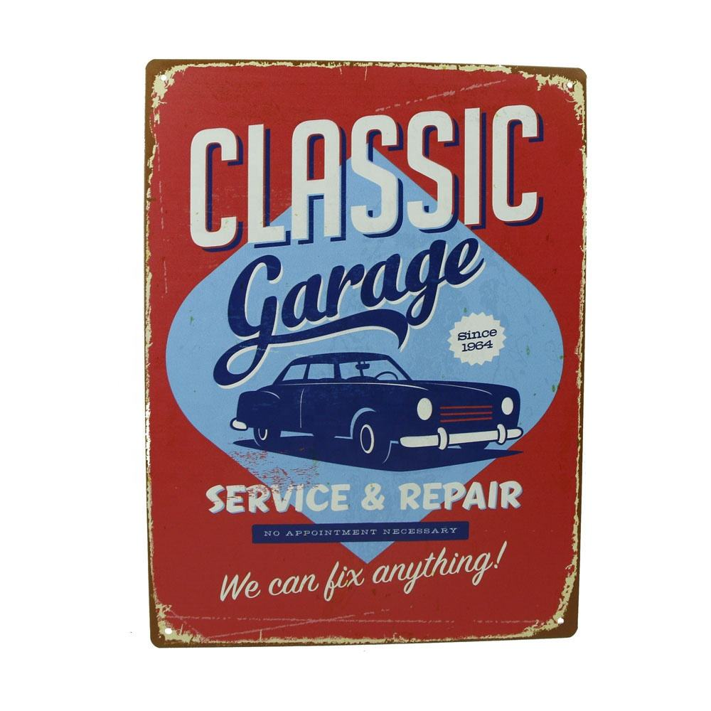decorative custom made vintage tin signs wall hanging metal sign