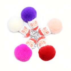 Santa Fur Ball Keychain Pu Leather Imitation Rex Rabbit Fur Alloy Keychain Cartoon Hair Ball Keychain Series Bag Pendant