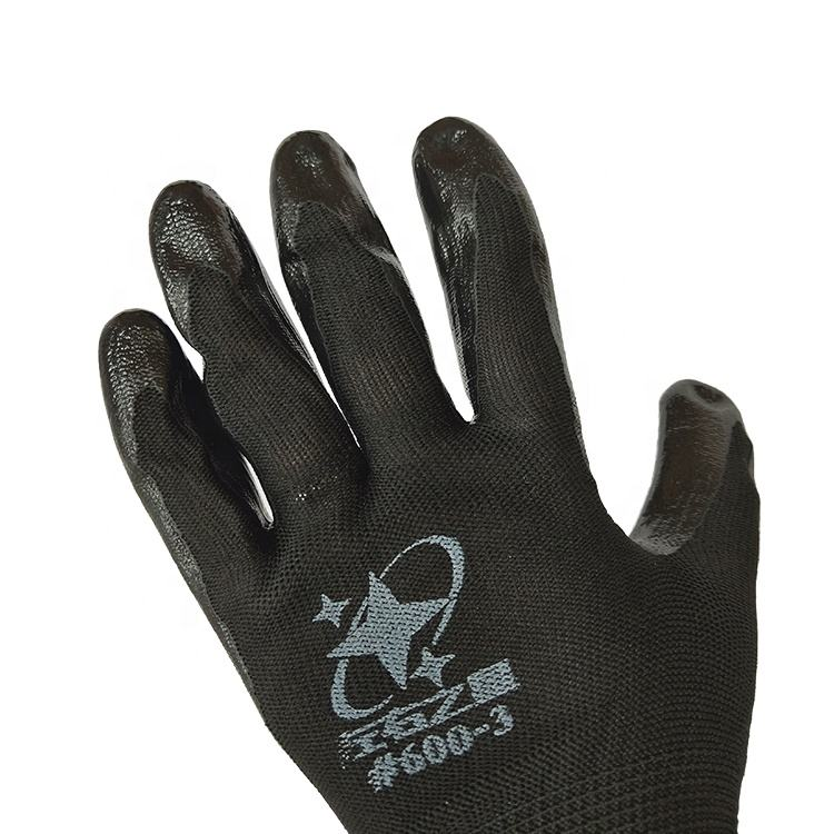 Handling Construction Site Nylon Nitrile Gloves Nitrile coated 15G thin nylon liner black nitrile gloves