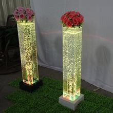 Wedding Event Party Decoration Color Changing Water Bubble Column Square Flower Pillar Lighting Decorations