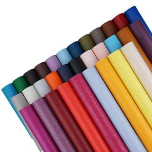 A4 32 solid colors wholesale medium litchi grain synthetic leather fabric for shoe making materials,bows&headbands