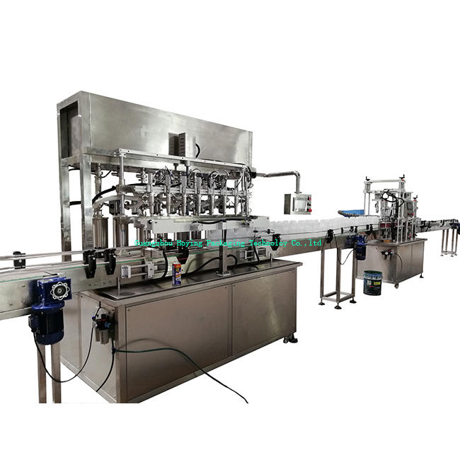 Full automatic explosion proof piston dosing 1 gallon bottle liquid/gel/detergent filling machine 8 heads filler line