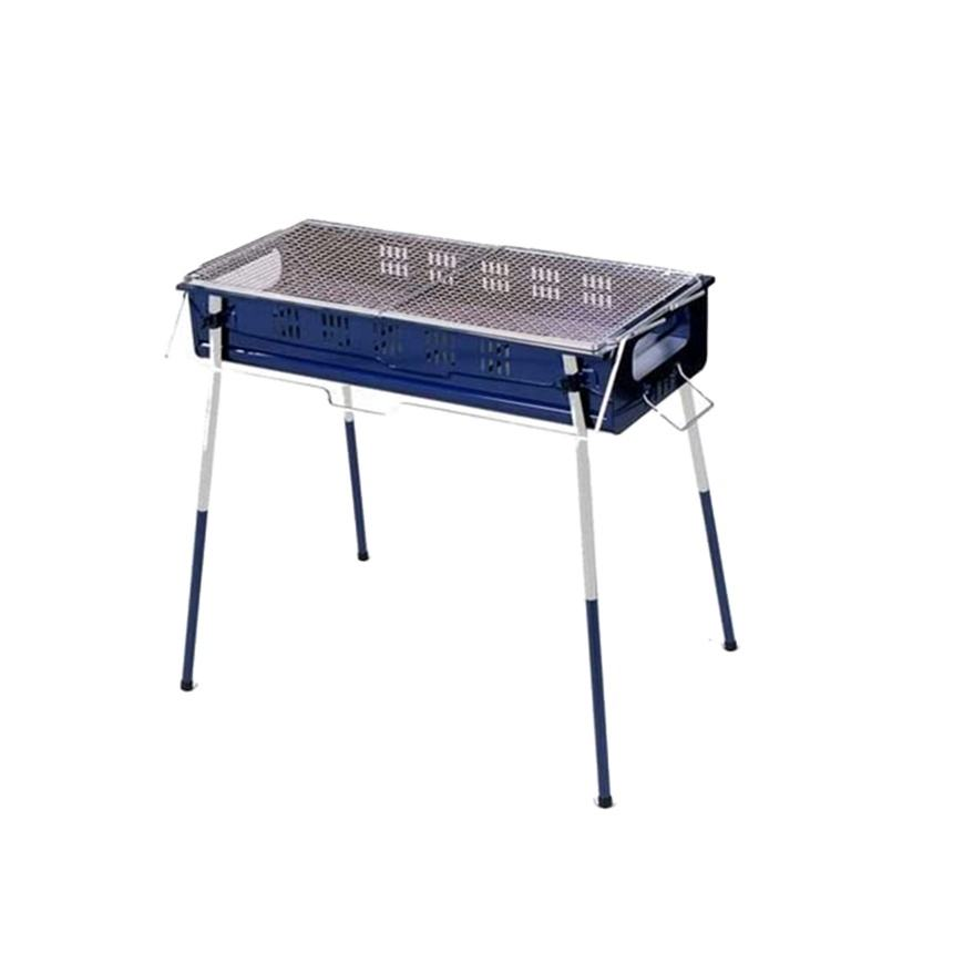 Easy To Add And Remove Charcoal BBQ Grill Adjustable Height Folding Design Home Garden Barbecue Blue Color Long Lasting Use
