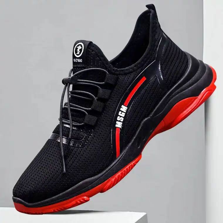 New style outdoor walking mesh grey black men shoes casual sport