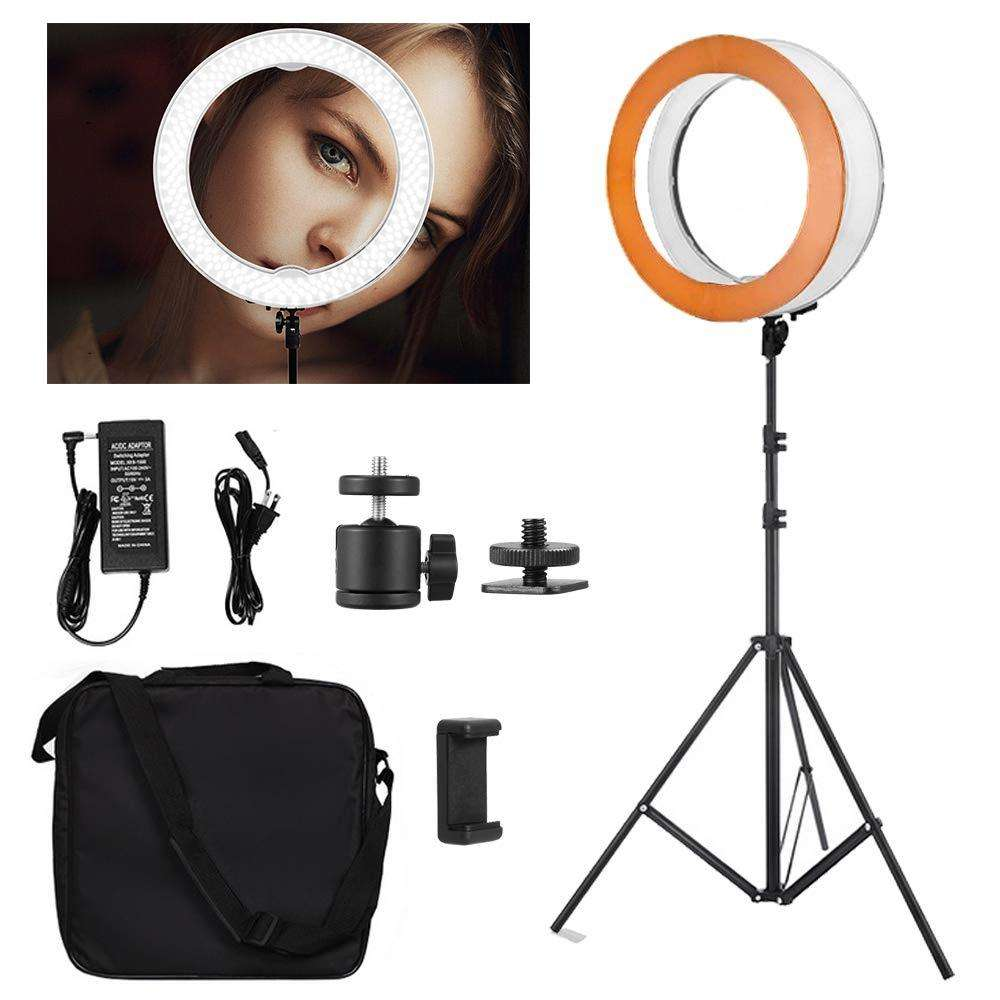 "Selens Ring Light 18 ""/48センチメートルDimmable Led 3200-5500K Photo Studio Light For Makeup Photography Studio Lighting VIdeo Recording"