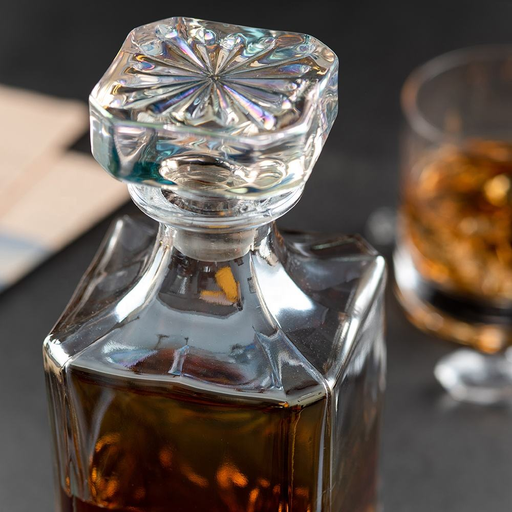 Electroplated 750ml Lead Free Crystal Square Plain Whiskey Decanter