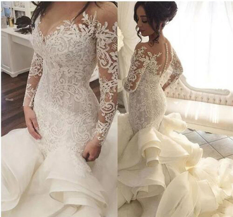 Gorgeous Scalloped Neck Long Sleeve Wedding Dresses Organza Mermaid Bridal Gown