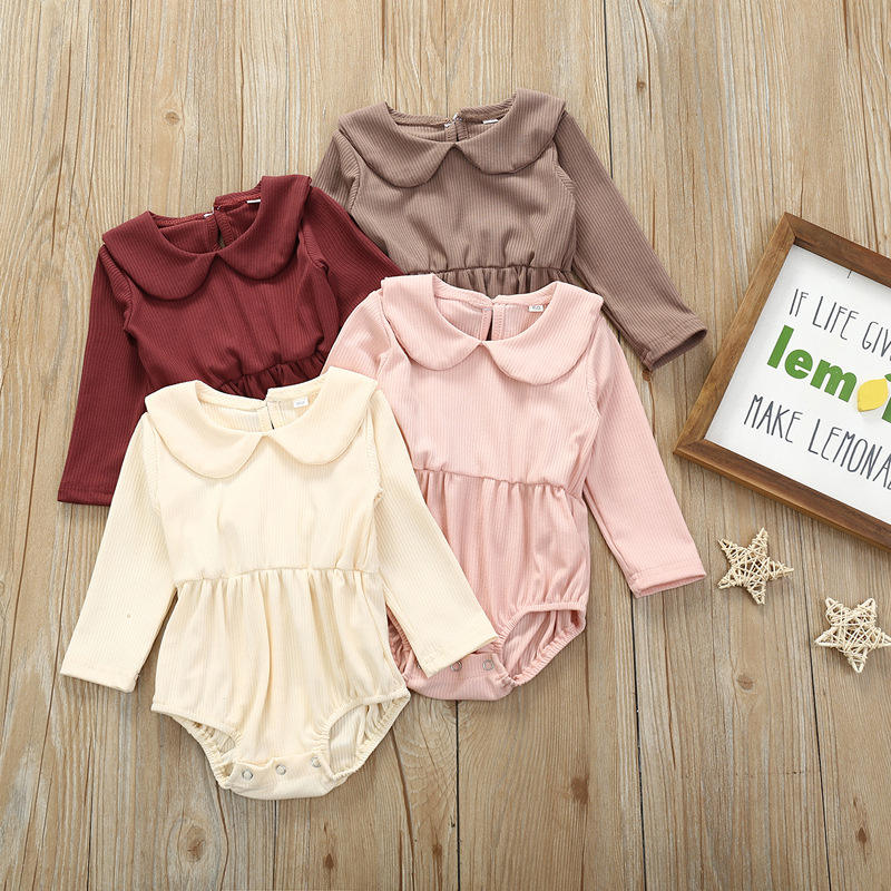 Baby jumpsuit autumn style solid color long-sleeved lotus leaf collar triangle romper baby clothes