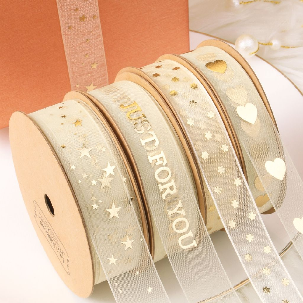 Hot Deal Wholesale 10yards Gift Wrapping Gold Foiled Printed Organza Ribbon