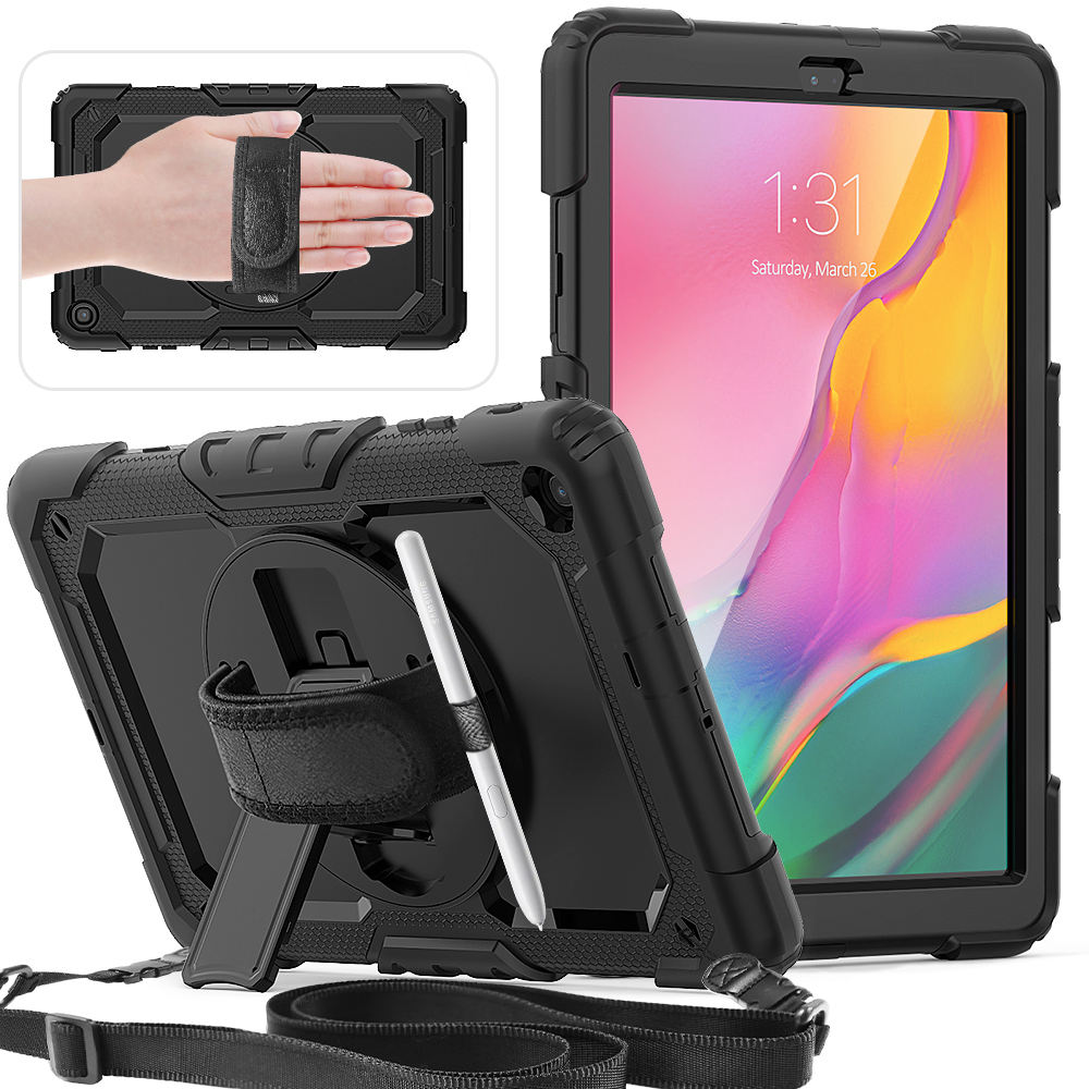 360 Rotation Hand Strap&Kickstand Silicone Tablet Case for Samsung Galaxy Tab A 10.1 Case 2019 T510 T515 Protective Cover