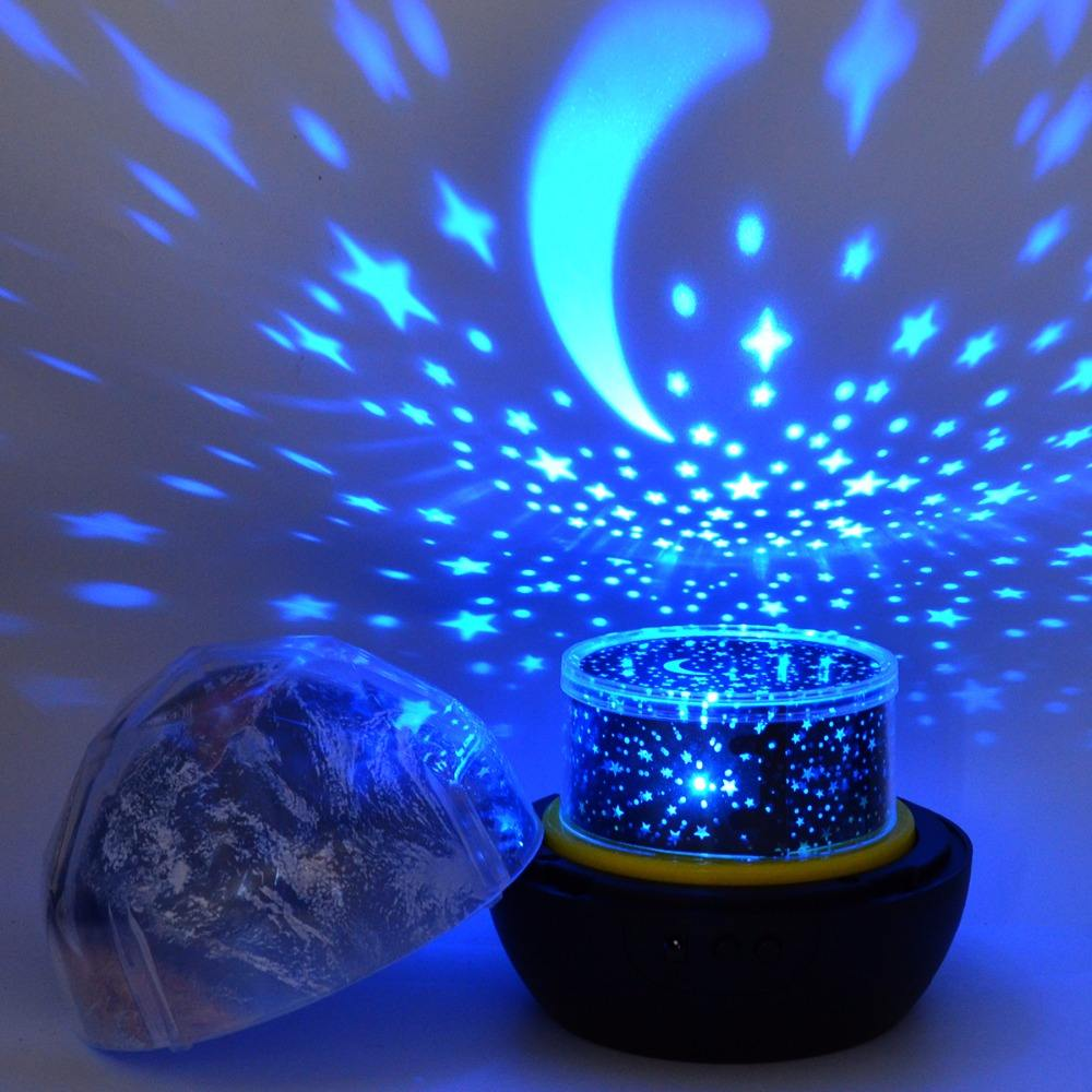 Free Shipping Starry Sky Night Light Planet Magic Projector Earth Universe LED Lamp Colorful Rotate Flashing Star for Kids Baby