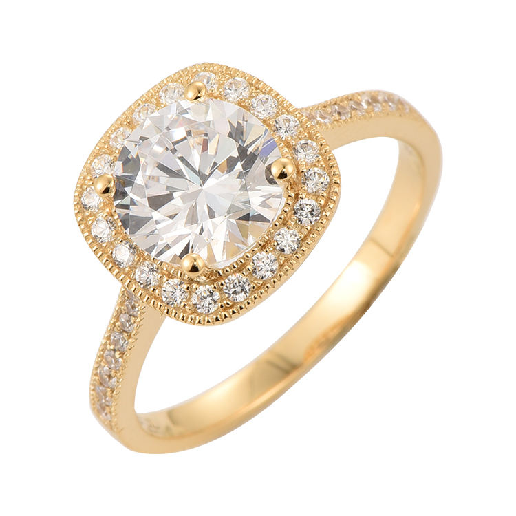 Round Cut Solitaire Pave Wedding Promise Engagement Diamond CZ Halo Ring 14K Real Gold