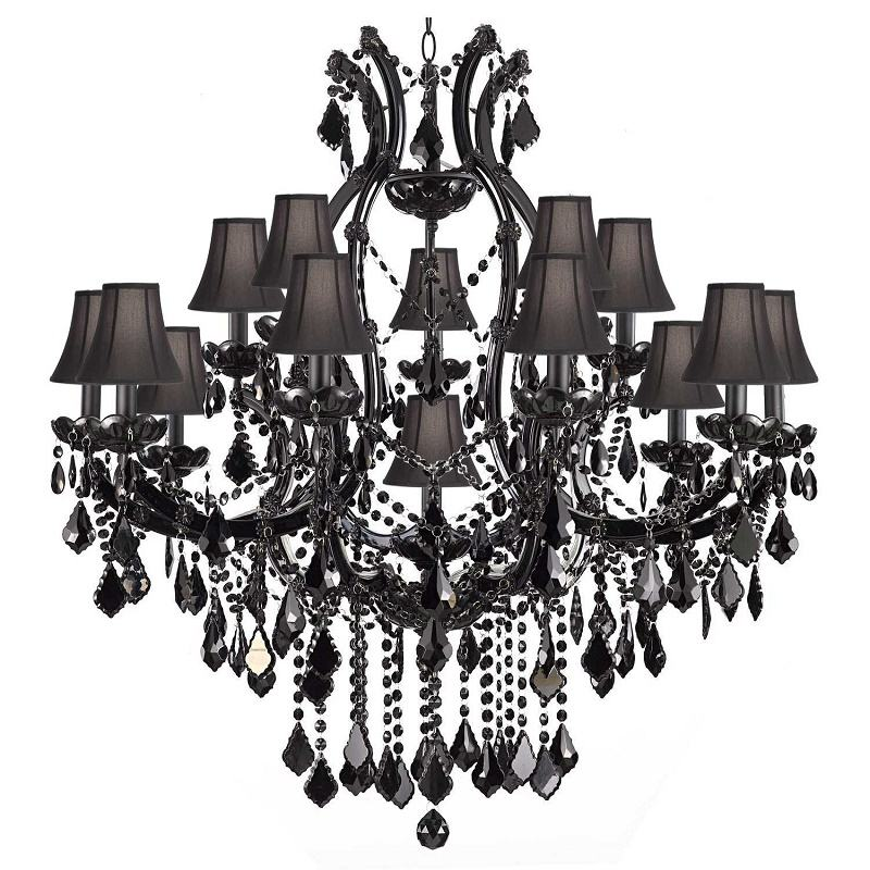 luxurious crystal chandelier light vintage black creative hanging lamp luminaries