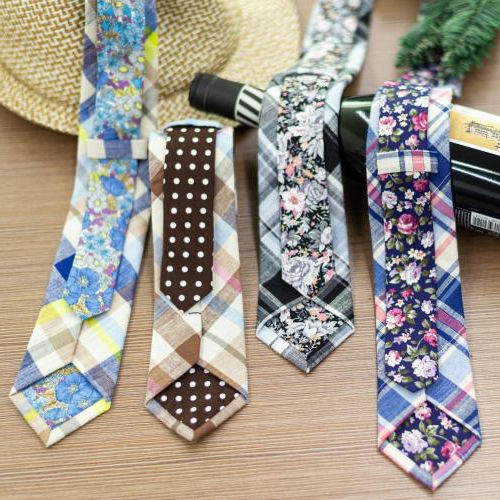 2020 Fashion Two-sided designs Wedding Tie For Men Fashion Plaid Color Necktie Mens Tie