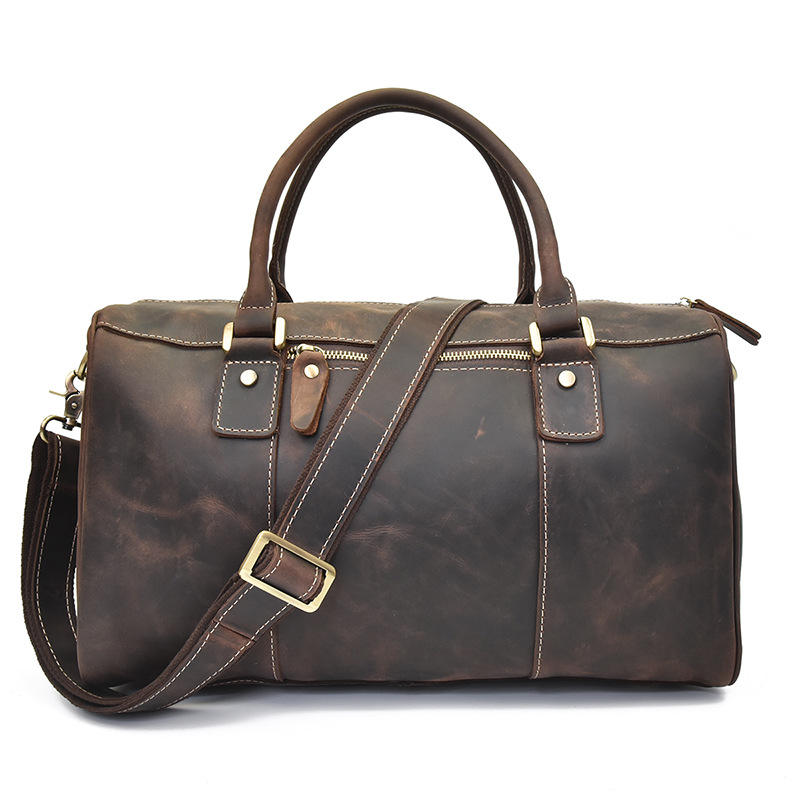 Vintage duffle retro thick cowhide leather weekender travel duffel luggage overnight bag