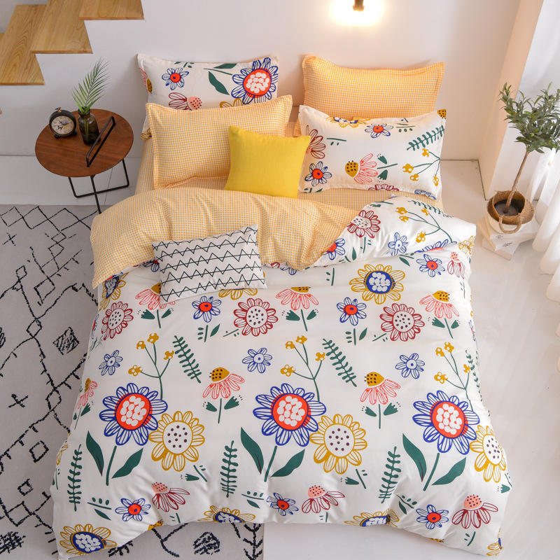 Amazon Sale Bedding Set Wholesale Hotel Polyester Cotton Bedding 3D Printed Flower Bedding Set Duvet Cover Bed Sheet For Home