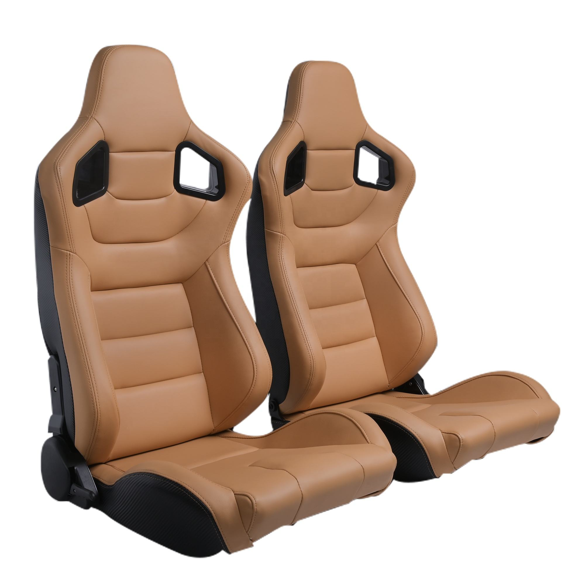 Customized Logo Beige Body Stitch Reclinable PVC Leather Back Kevlar Leather With Double Sliders Car Race Seats