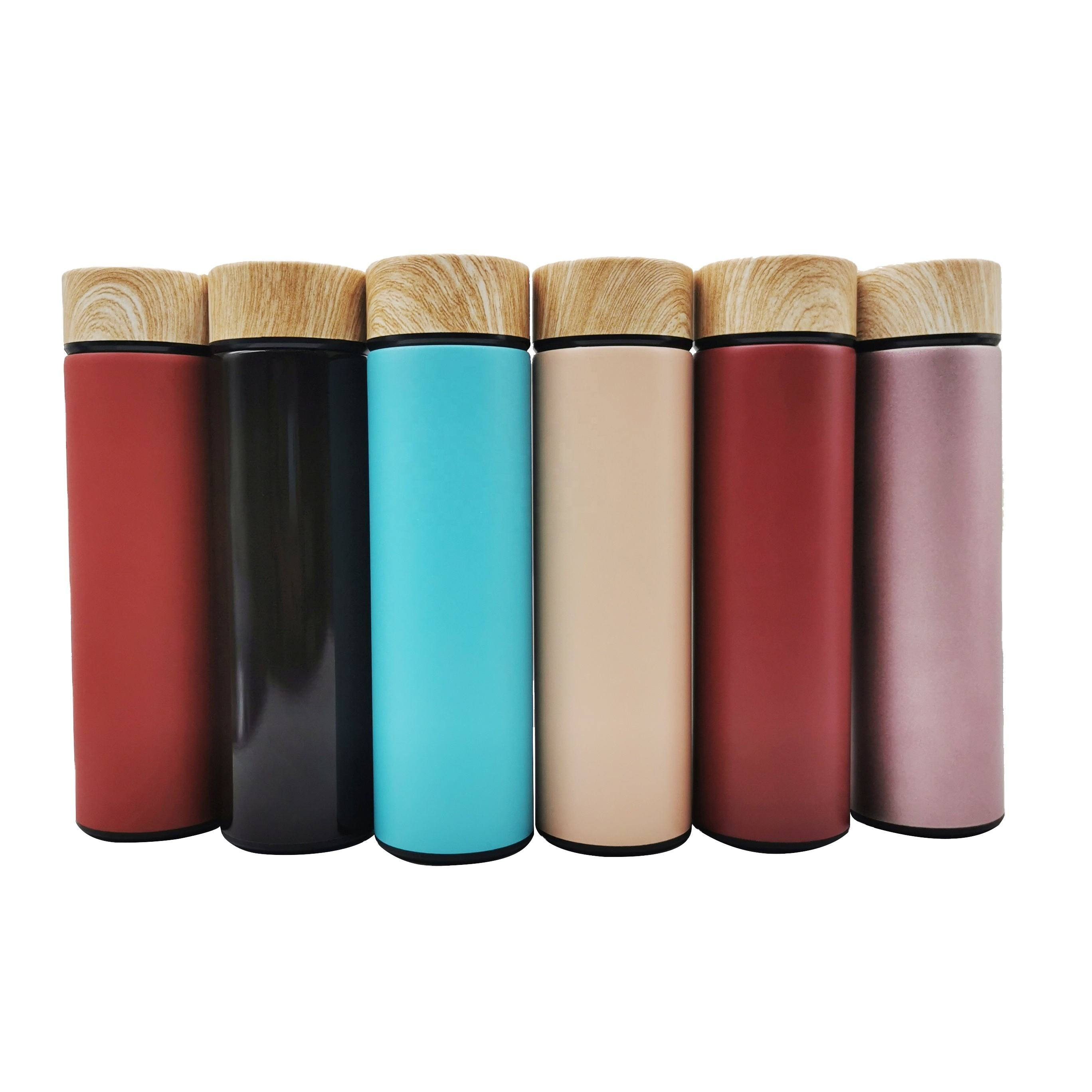New Wooden Color Lid Stainless Steel Double Wall Insulated Vacuum Flask with Tea Infuser Leakproof Shaker Water Bottle