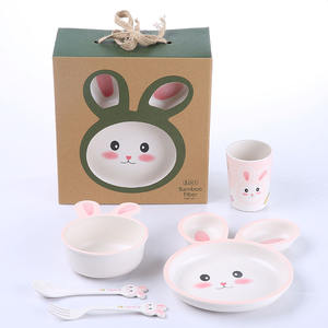 Custom Bamboo Baby Bowl Rabbit And Plate Set Supply