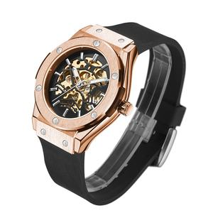 2020 New Silicone Strap Alloy Case Hallow Out Skeleton Mechanical Automatic Watches Wrist for Men