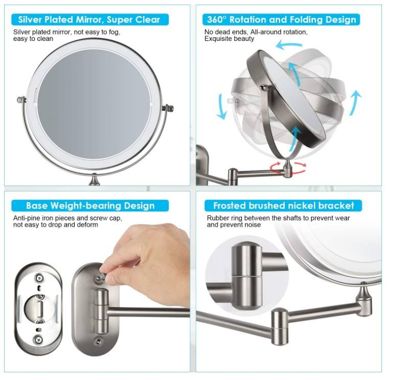 2-Face [ Mirror Hotel Vanity ] Hotel Bathroom Mirrors 8 Inch Touch Sensor Double Sided Wall Mount Magnifying Mirror 10X Hotel Bathroom Led Vanity Mirror