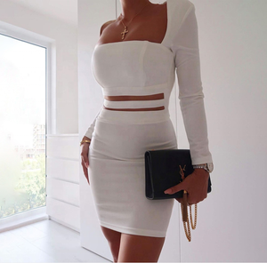 Factory high quality women casual white black cut out cutouts asymmetric wrap sexy bodycon dress for party club
