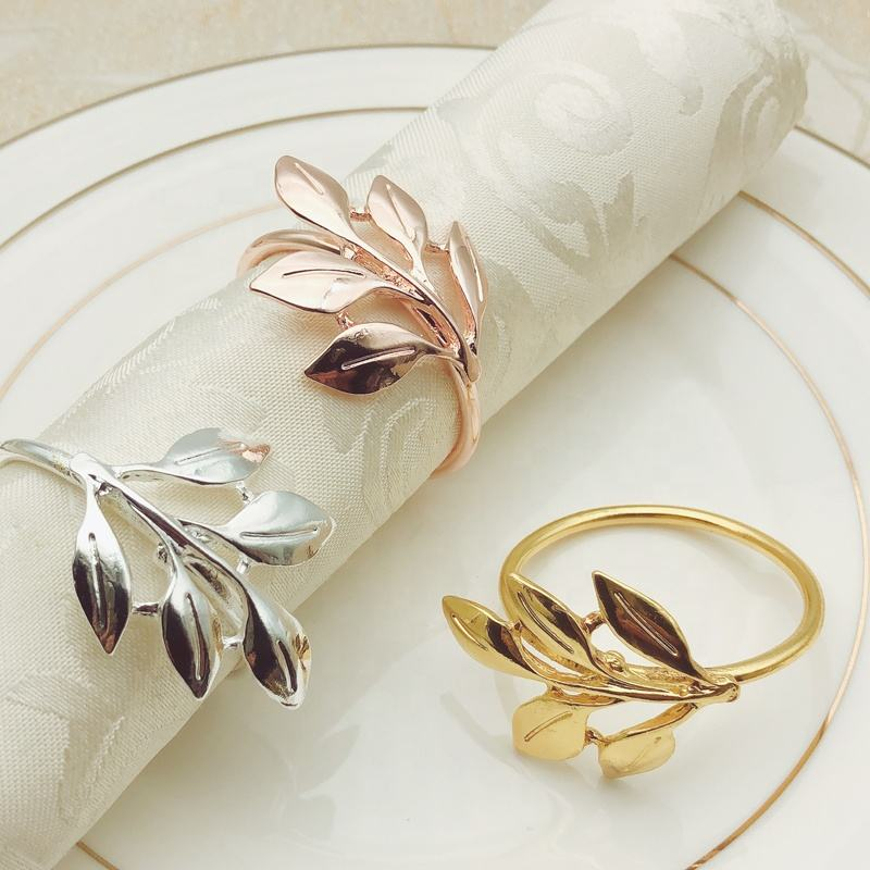 Cheap Rose Gold Leaf Napkin Rings Metal Maple Leaf Napkin Ring Holder Silver Wedding Napkin Ring Buckle for Table Decoration