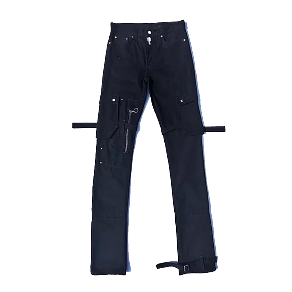 2020 new design high quality men pants zipper side big pocket leg opening special design stacked jeans