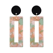 Fashion Jewelry Laser Cut Leopard Printed Tortoise Acetate Rectangle Acrylic Resin Earrings