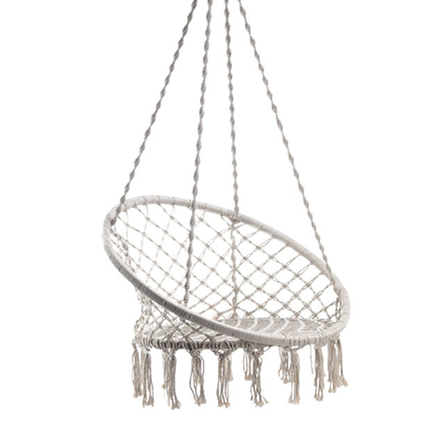 Outdoor Indoor Garden Patio Cotton Rope Macrame Boho Style Hanging Hammock Swing Chair