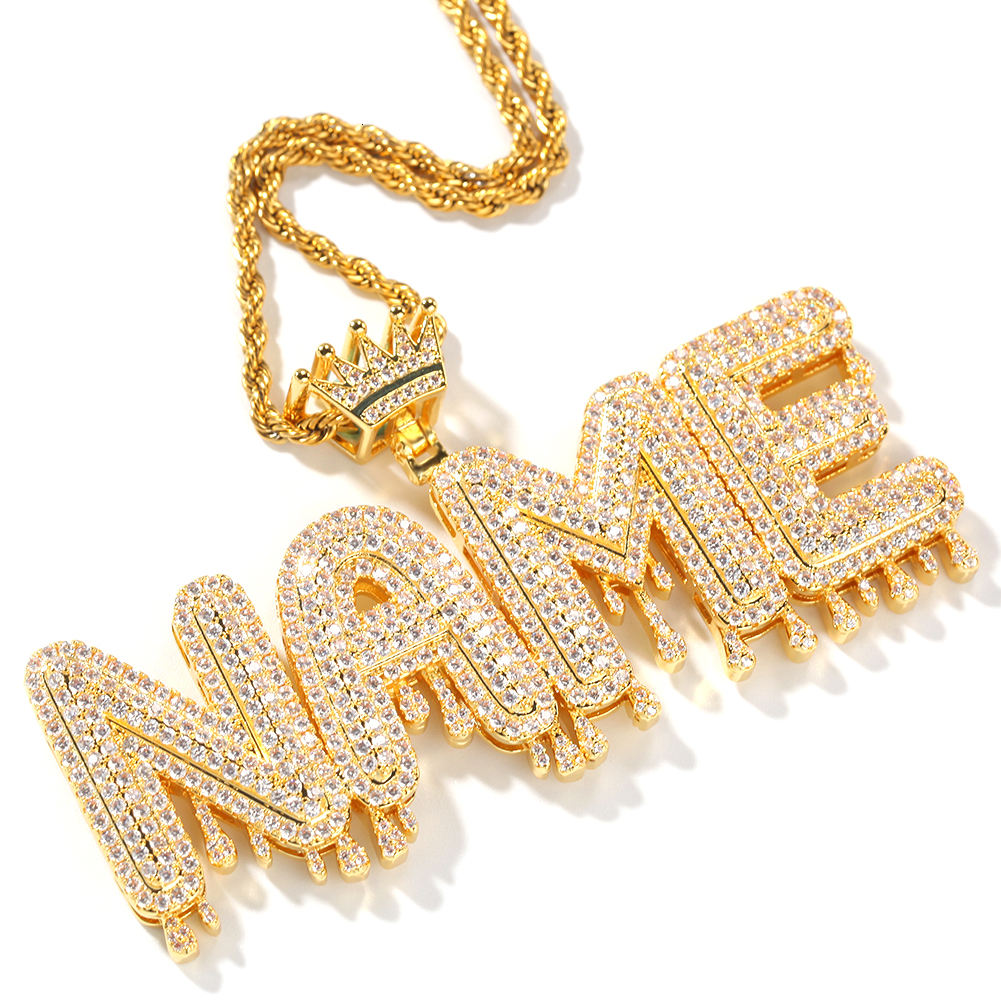 Custom Name Cubic Zircon Crown Bali Drip Iced Out Diamond Initial Letters Chain Pendants Necklaces