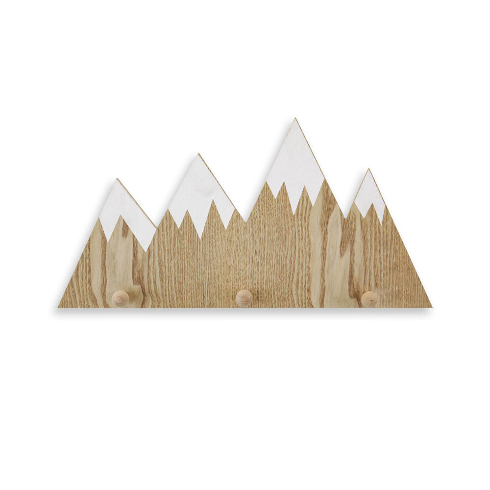 XINGCHENG Best price amazon wish mountain shape wall hanging wood hook for sale home art decor mounted wooden coat rack