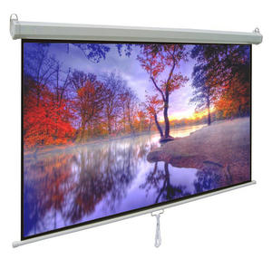 60-120'' Wall Mount Manual Pull Down Projector Screen With Self-lock System
