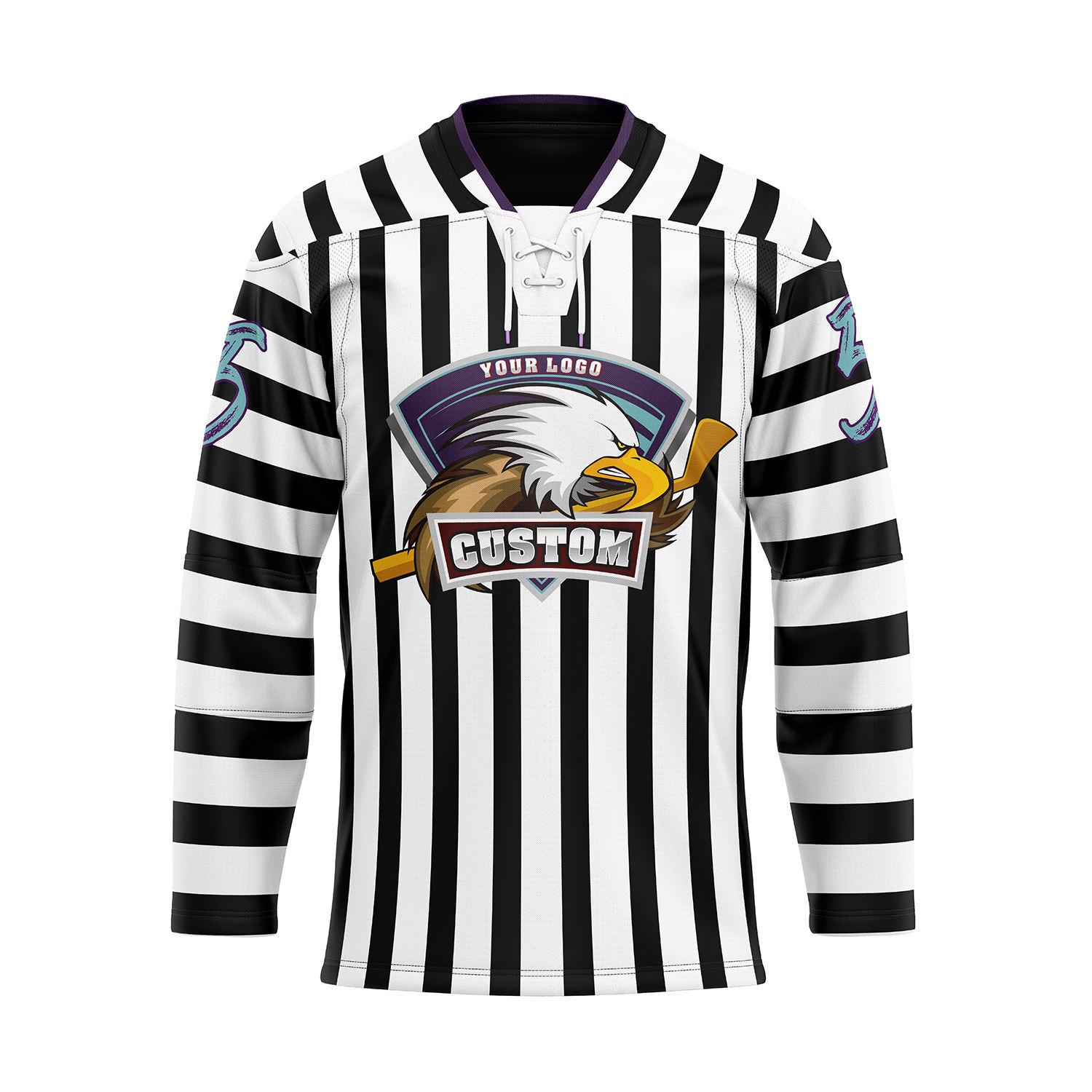 Custom tackle twill embroidery Goalie cut jersey sublimation ice hockey jersey