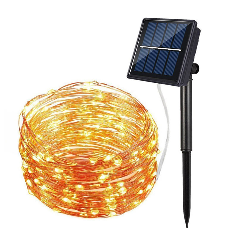 Garden Holiday Wedding Decoration Metal Display Wire Fairy Outdoor Street Copper Christmas LED Solar String Light