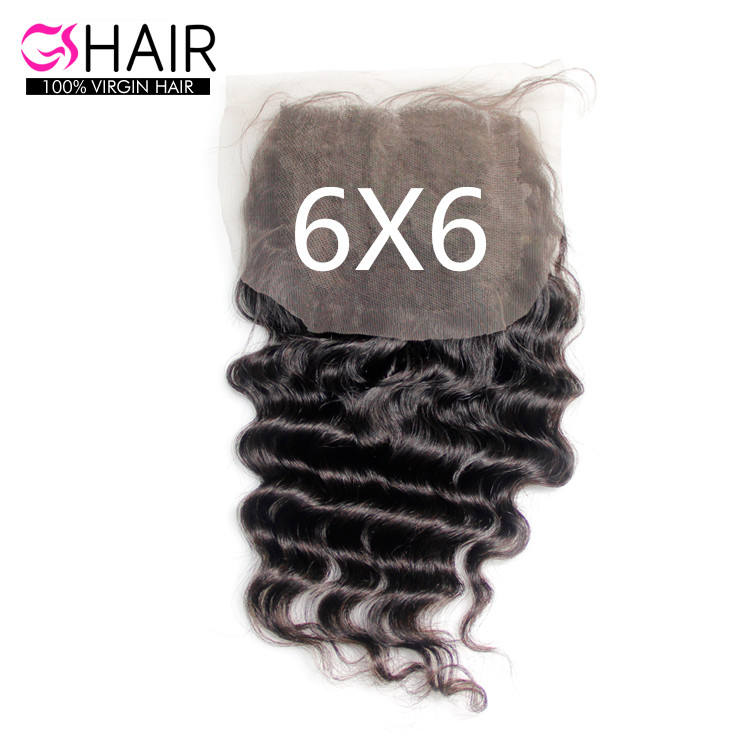 Wholesale Transparent Hd Swiss Invisible Lace Closure , 6x6 lace closure human hair Highlighted Middle Parting Double drawn