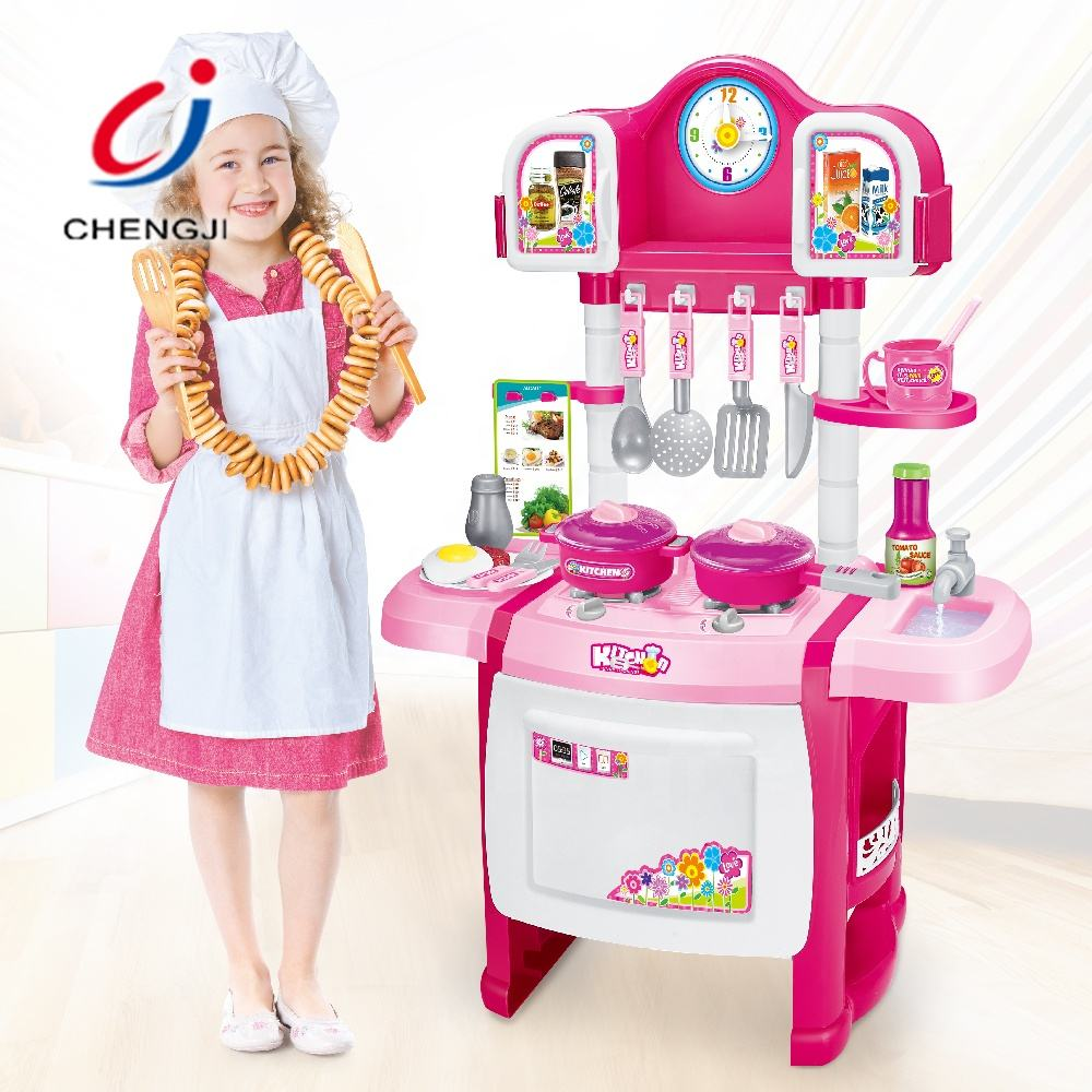 Kids educational toy girls cooking pretend paly kitchen toys sets plastic