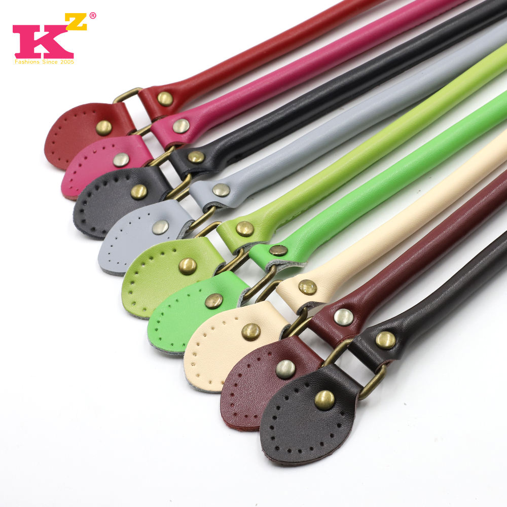 kz90032 Hot Sale black high quality genuine leather Bag Handle DIY Leather Handle for Handbags