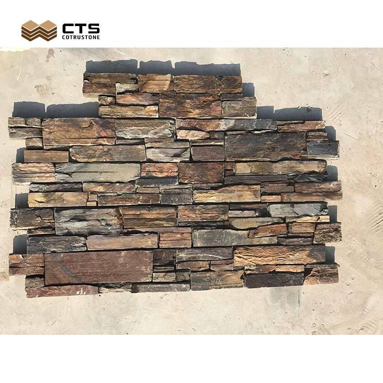 External Exterior Wall Decoration Rustic Stone Cladding Design
