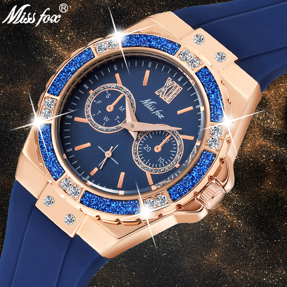MISSFOX 2593 Women's Watches Rose Gold Sport Watch Ladies Guessing Diamond Blue Rubber Band Analog Female Quartz Wristwatch